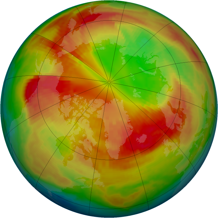 Arctic ozone map for 01 March 1998