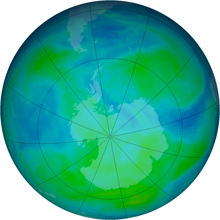 Antarctic ozone map for 02 March 1998