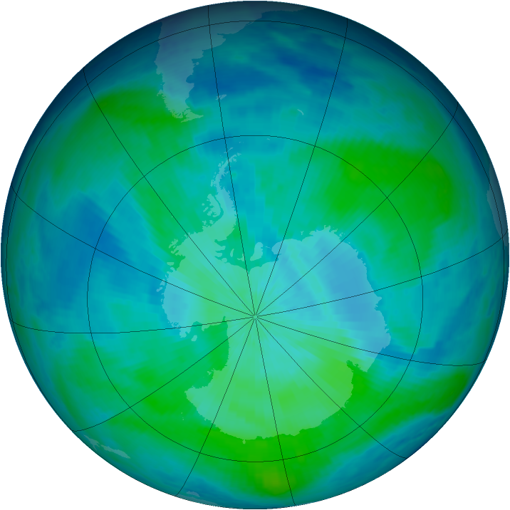 Antarctic ozone map for 03 March 1998