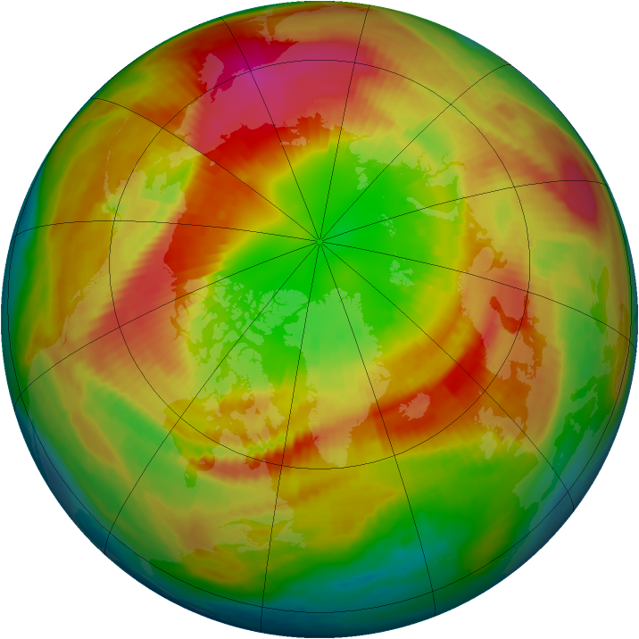 Arctic ozone map for 05 March 1998