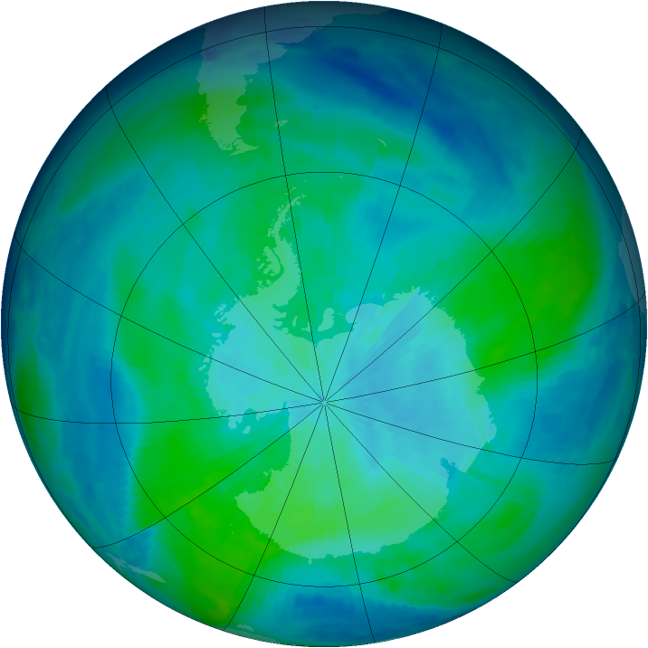 Antarctic ozone map for 06 March 1998