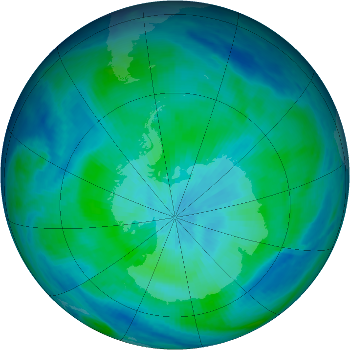 Antarctic ozone map for 08 March 1998