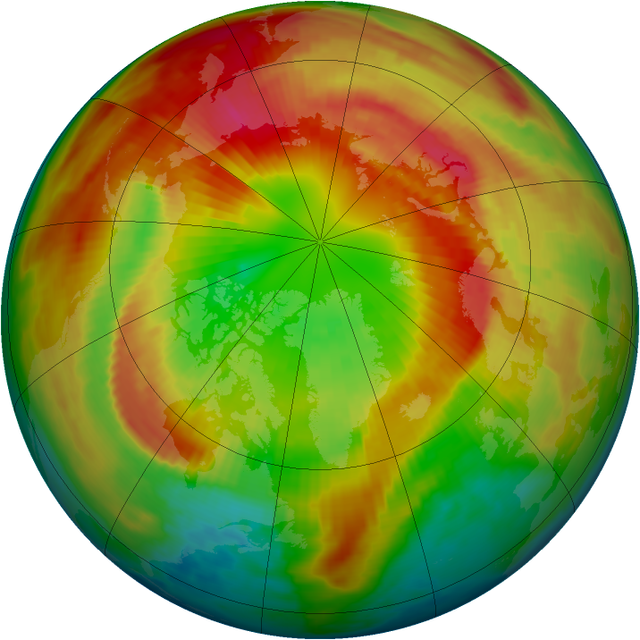Arctic ozone map for 09 March 1998