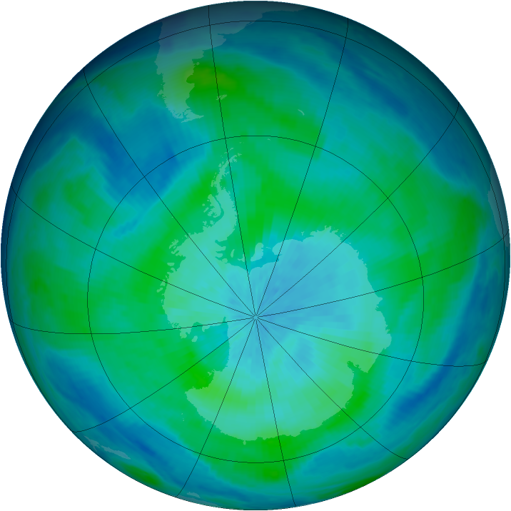 Antarctic ozone map for 09 March 1998