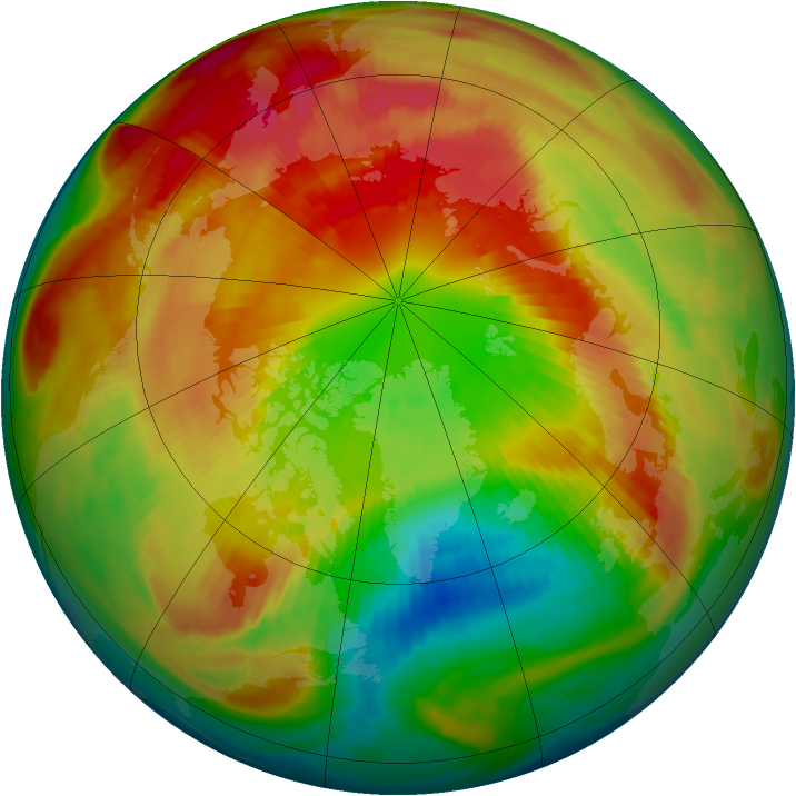 Arctic ozone map for 11 March 1998