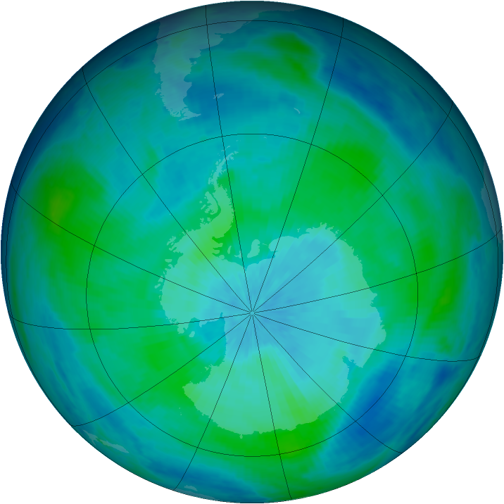Antarctic ozone map for 11 March 1998
