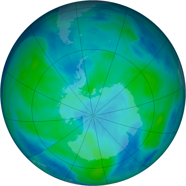 Antarctic ozone map for 12 March 1998