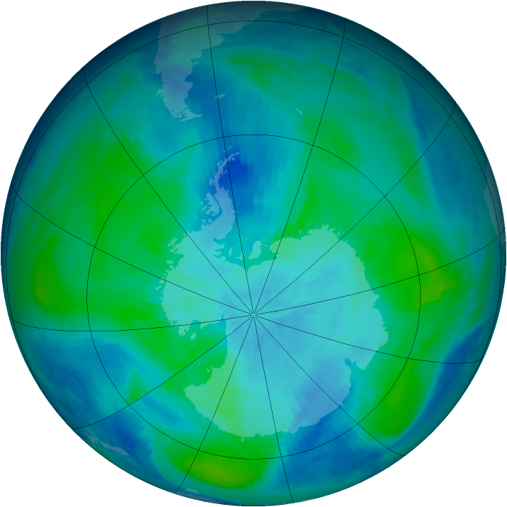Antarctic ozone map for 13 March 1998