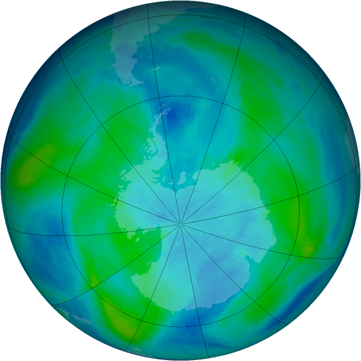Antarctic ozone map for 14 March 1998