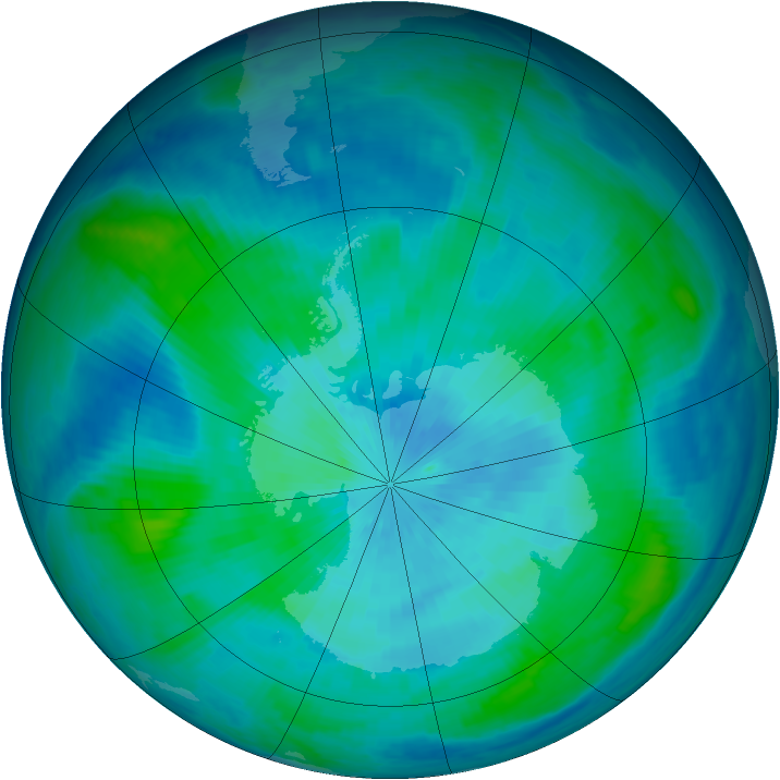 Antarctic ozone map for 16 March 1998