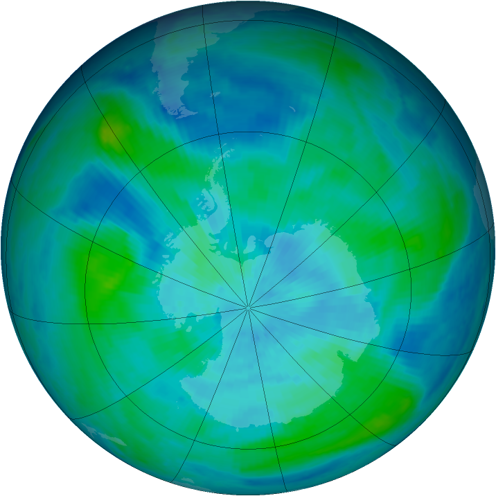 Antarctic ozone map for 17 March 1998