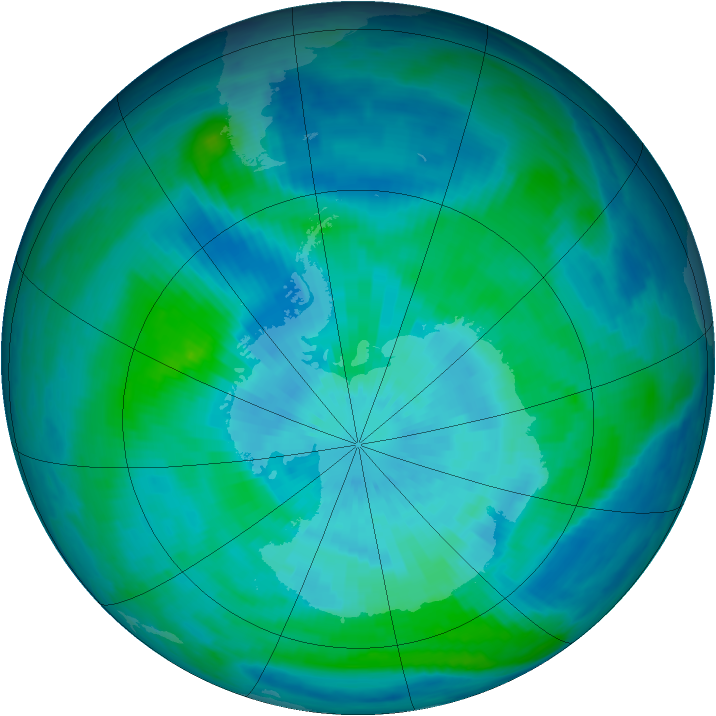 Antarctic ozone map for 18 March 1998