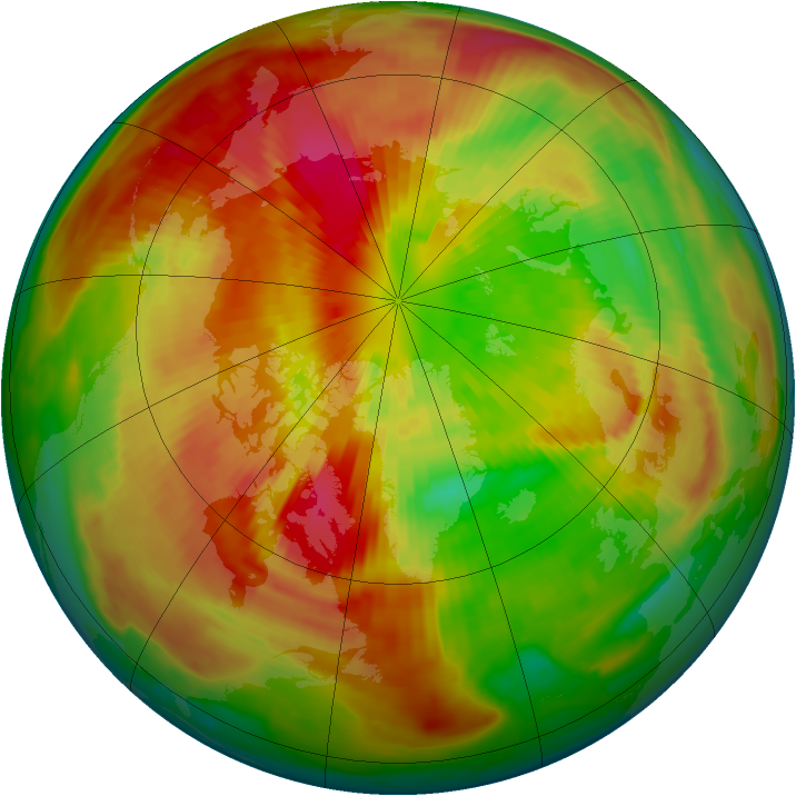 Arctic ozone map for 19 March 1998