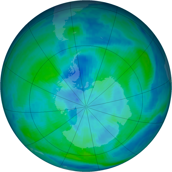 Antarctic ozone map for 19 March 1998