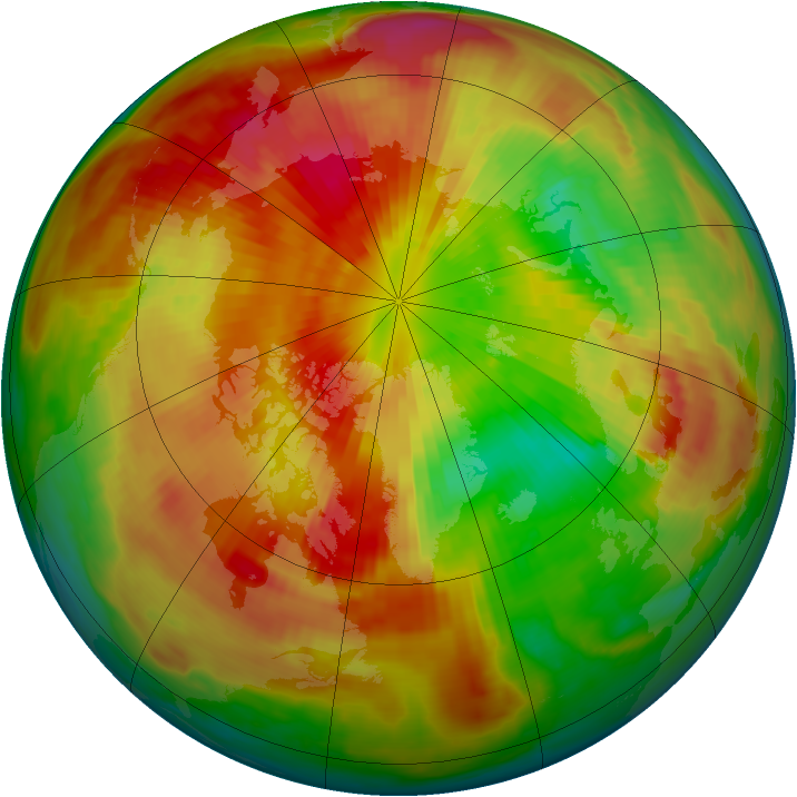 Arctic ozone map for 20 March 1998