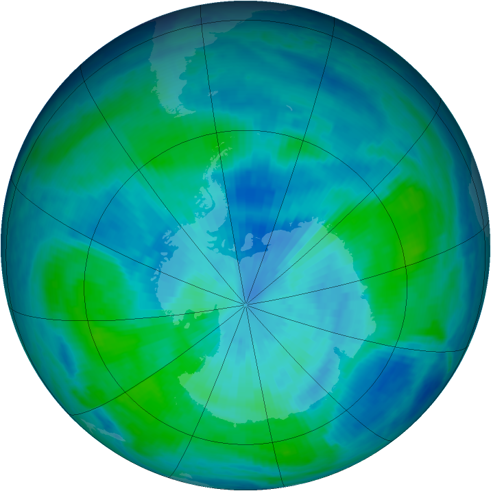 Antarctic ozone map for 21 March 1998