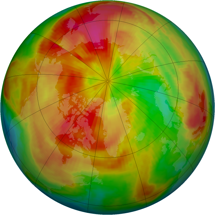 Arctic ozone map for 22 March 1998