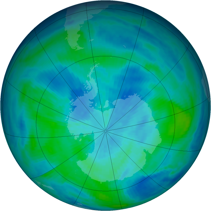Antarctic ozone map for 22 March 1998