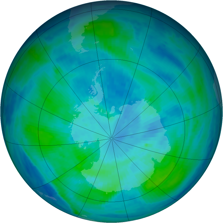 Antarctic ozone map for 24 March 1998