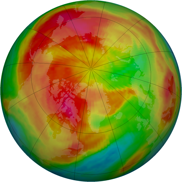 Arctic ozone map for 25 March 1998