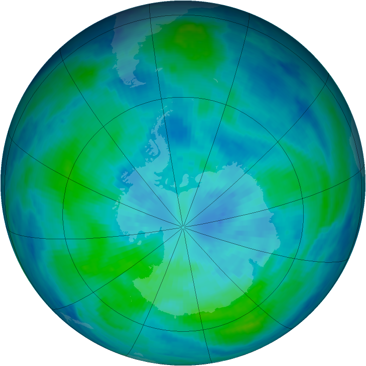 Antarctic ozone map for 25 March 1998