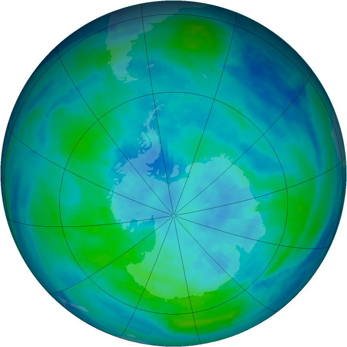 Antarctic ozone map for 26 March 1998
