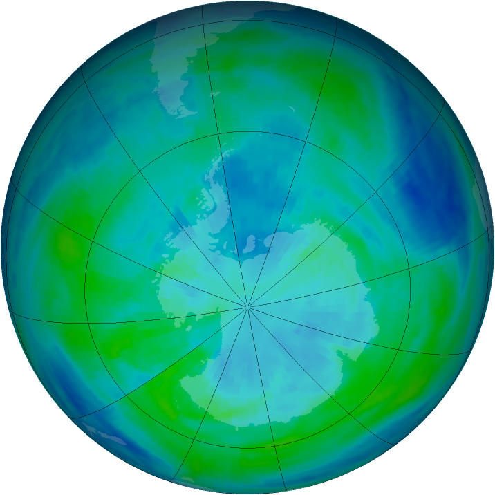 Antarctic ozone map for 28 March 1998