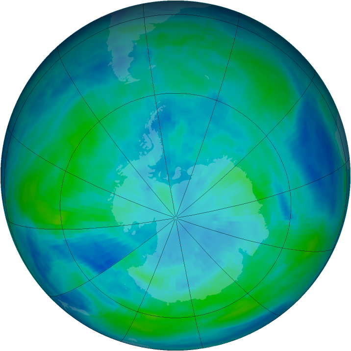 Antarctic ozone map for 29 March 1998