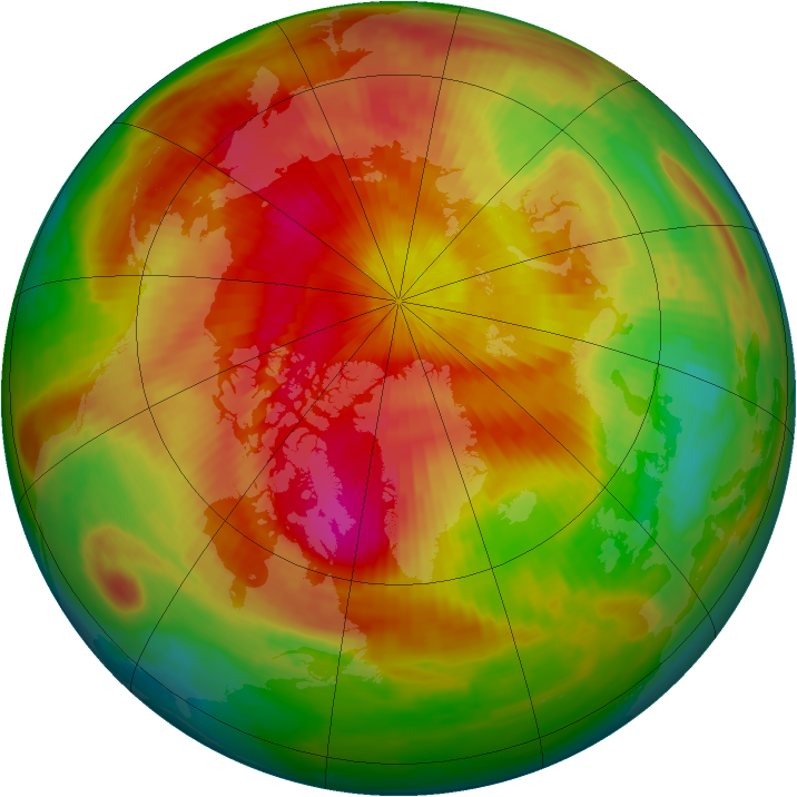Arctic ozone map for 31 March 1998