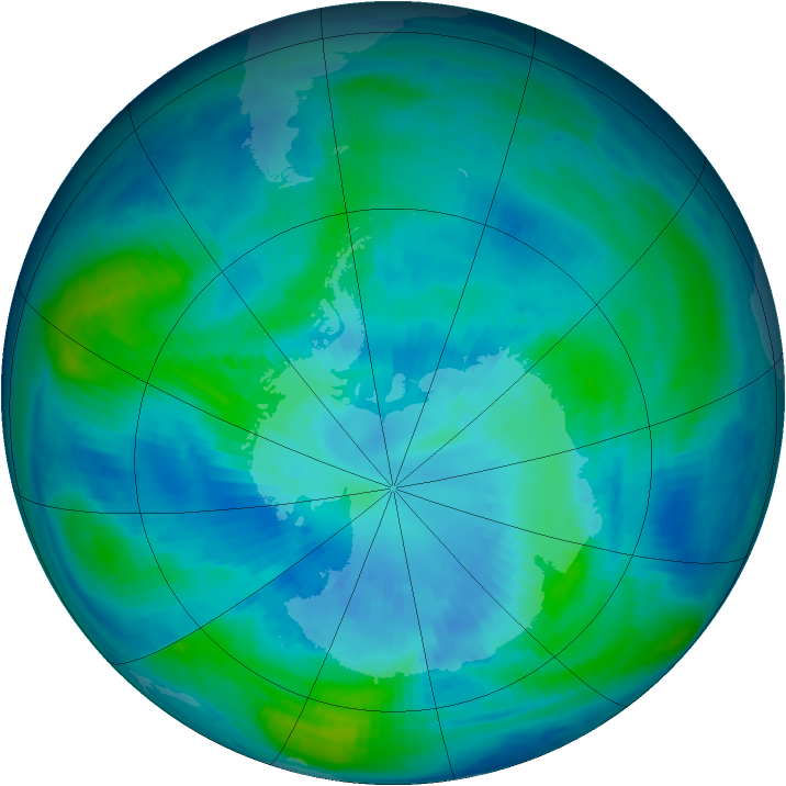 Antarctic ozone map for 31 March 1998