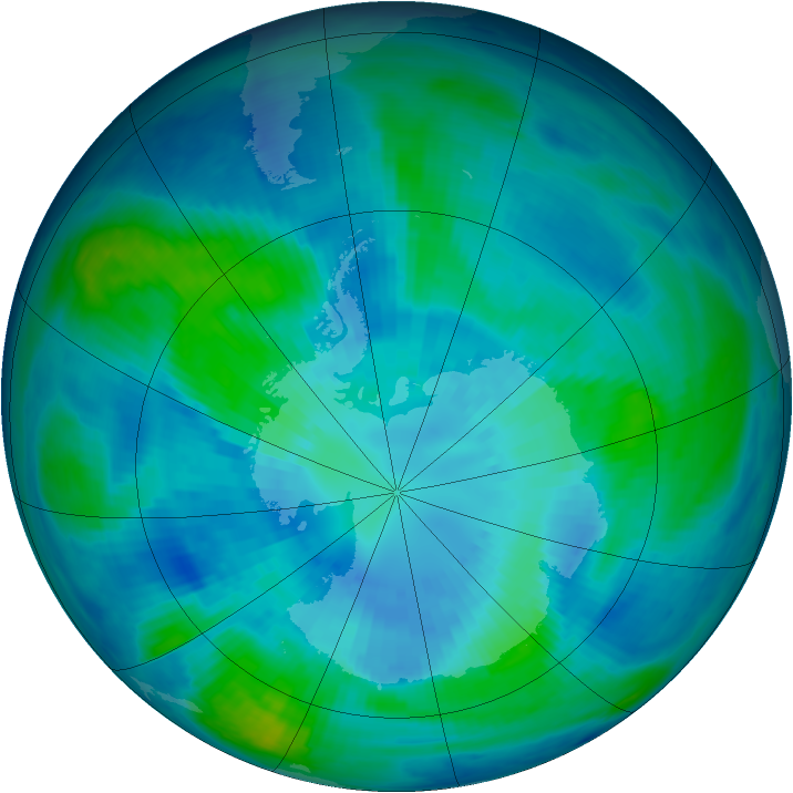 Antarctic ozone map for 01 April 1998