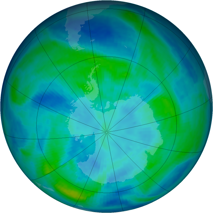 Antarctic ozone map for 03 April 1998