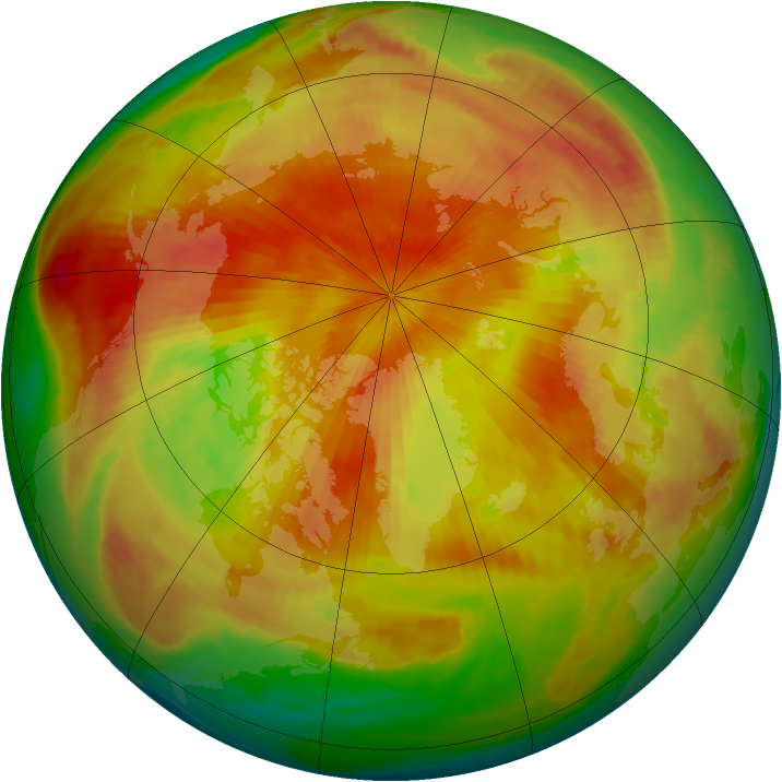 Arctic ozone map for 19 April 1998