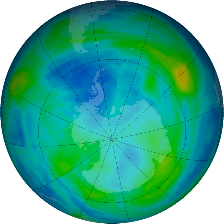 Antarctic ozone map for 26 April 1998