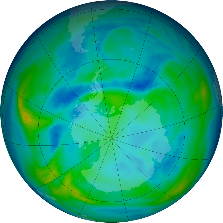 Antarctic ozone map for 02 May 1998