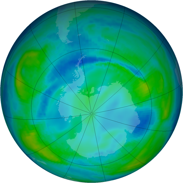 Antarctic ozone map for 03 May 1998
