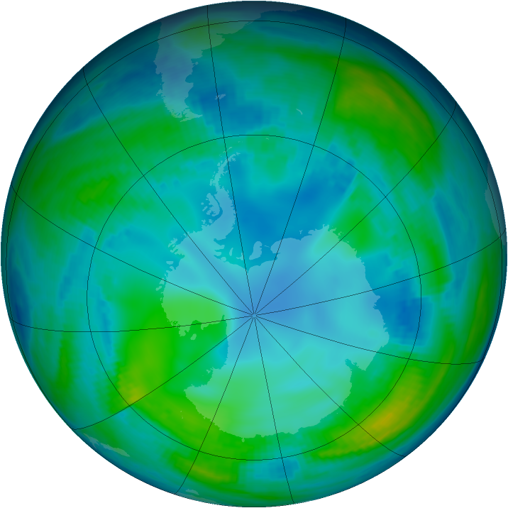 Antarctic ozone map for 15 May 1998
