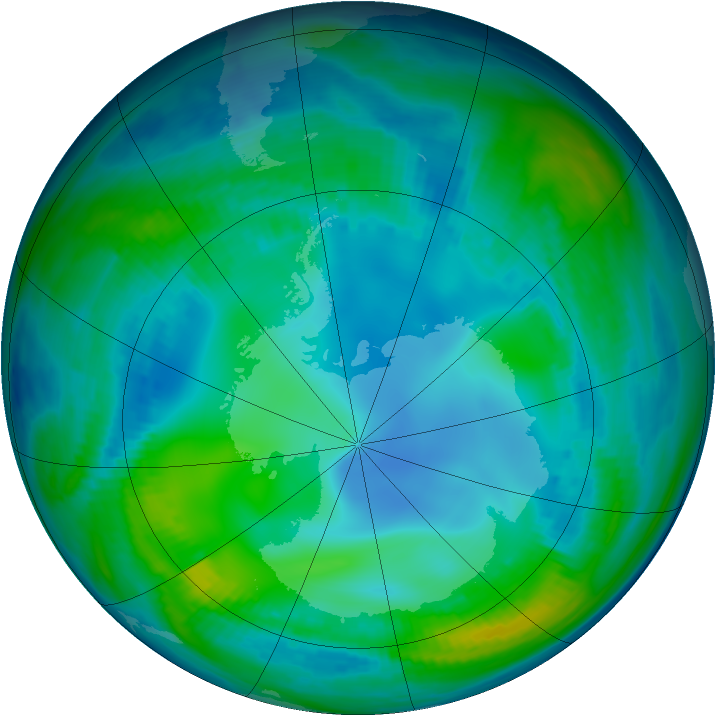 Antarctic ozone map for 16 May 1998