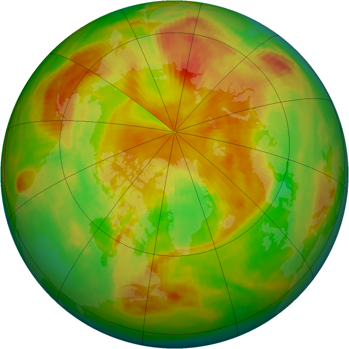 Arctic ozone map for 19 May 1998