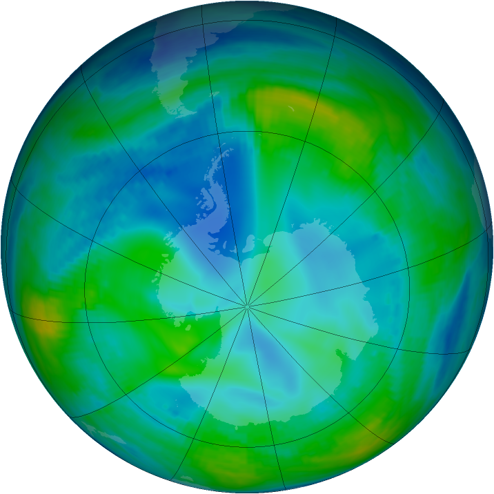 Antarctic ozone map for 19 May 1998