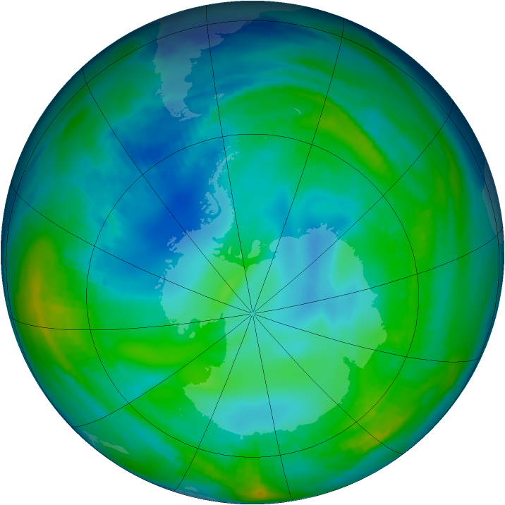 Antarctic ozone map for 22 May 1998