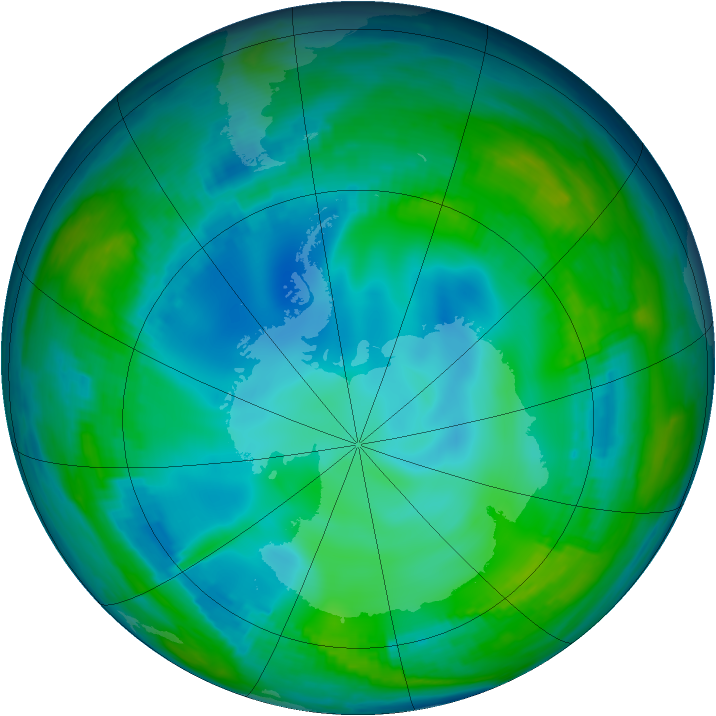 Antarctic ozone map for 25 May 1998