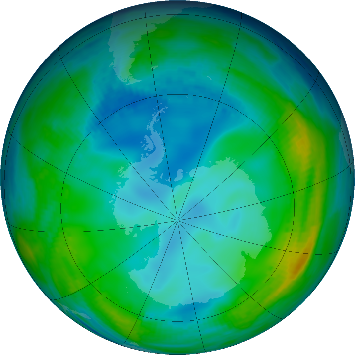 Antarctic ozone map for 01 June 1998