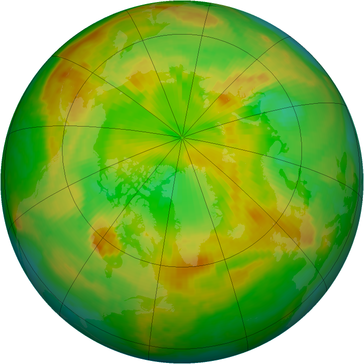 Arctic ozone map for 12 June 1998