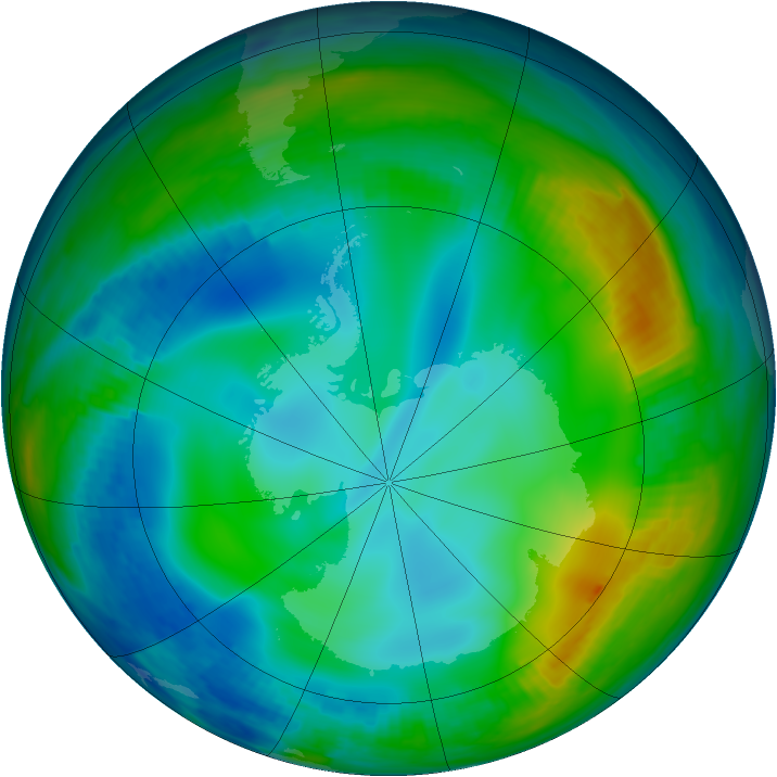 Antarctic ozone map for 12 June 1998