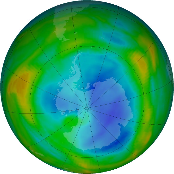 Antarctic ozone map for 27 July 1998