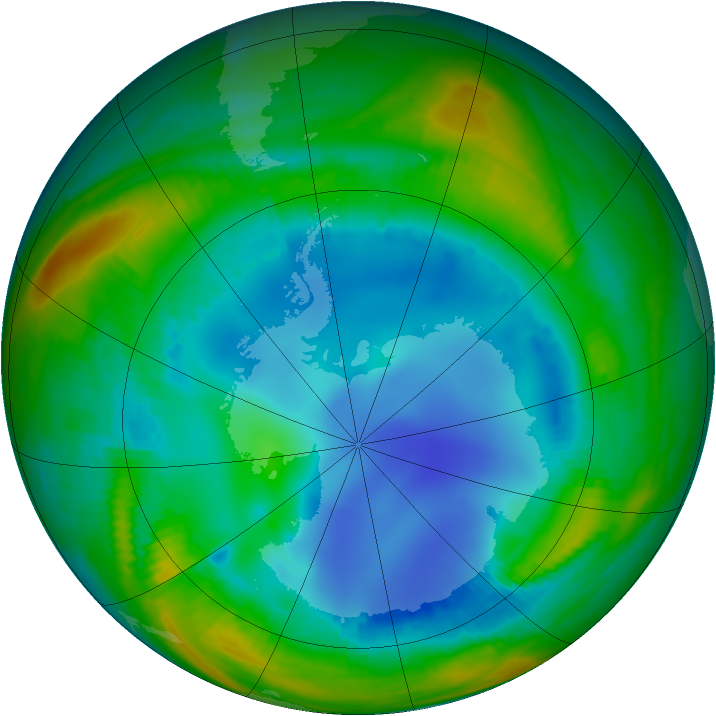 Antarctic ozone map for 30 July 1998