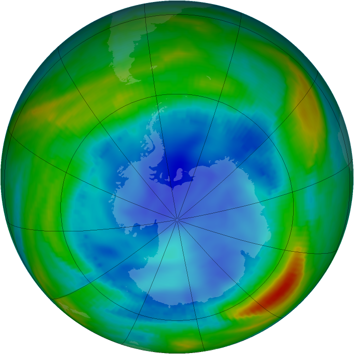 Antarctic ozone map for 03 August 1998