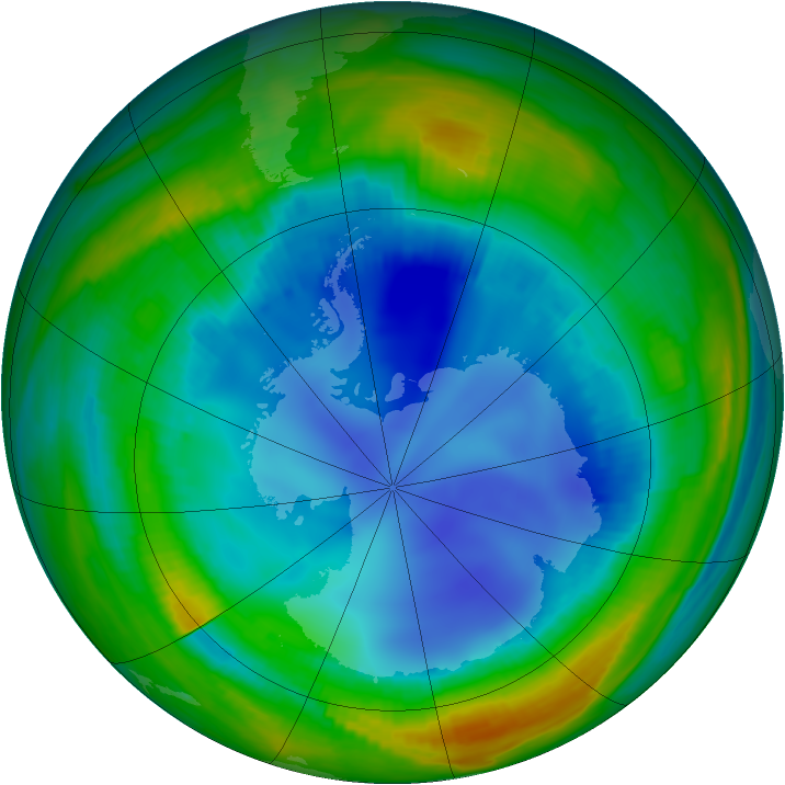 Antarctic ozone map for 05 August 1998