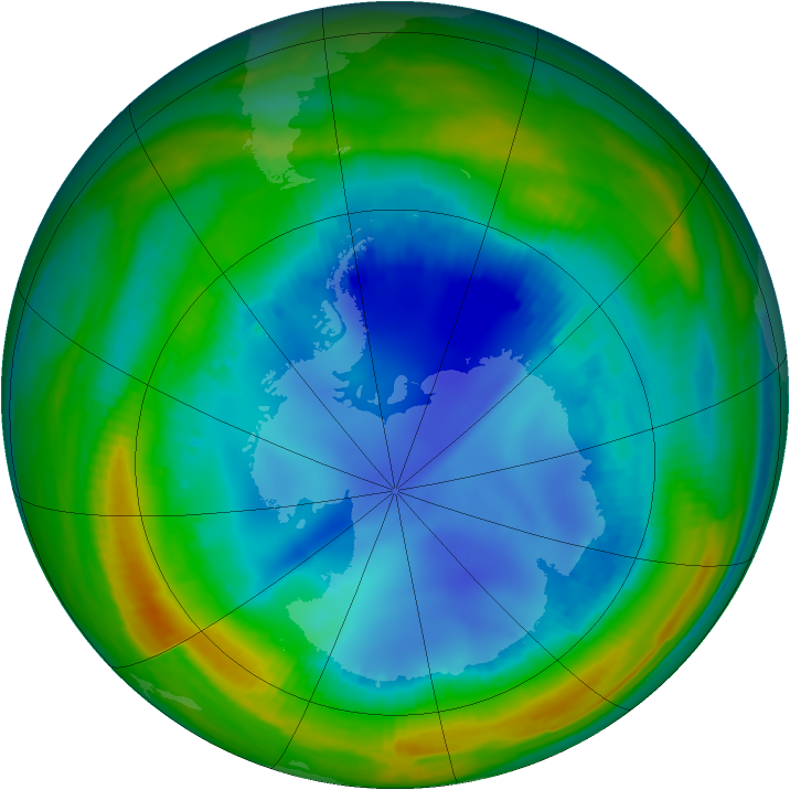 Antarctic ozone map for 06 August 1998